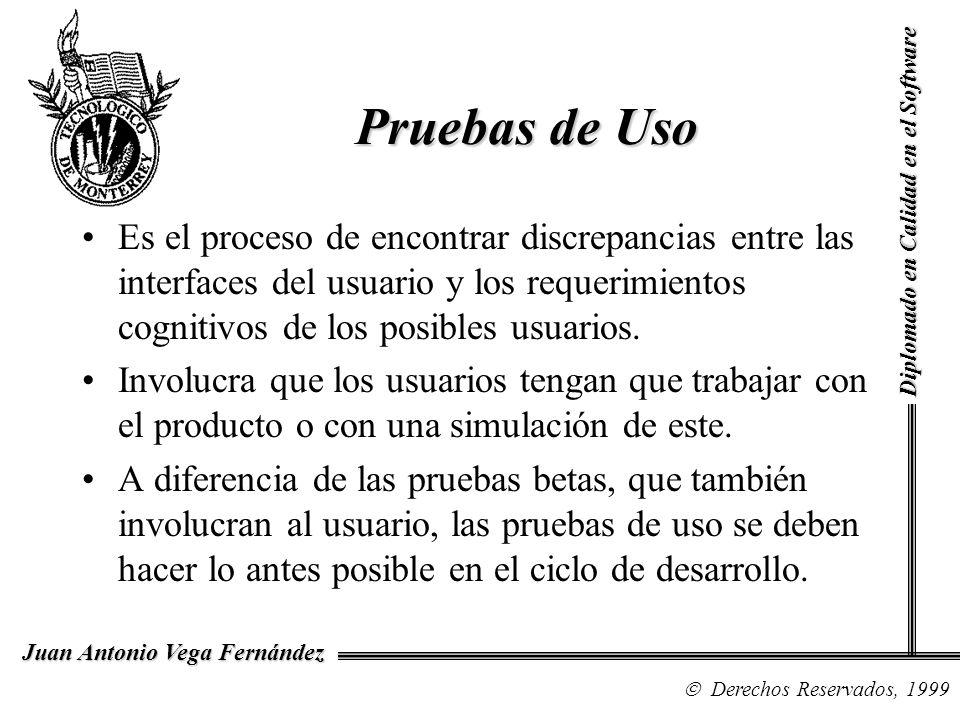 Diplomado en Calidad en el Software Derechos Reservados, 1999 Juan Antonio Vega Fernández Es el proceso de encontrar discrepancias entre las interface