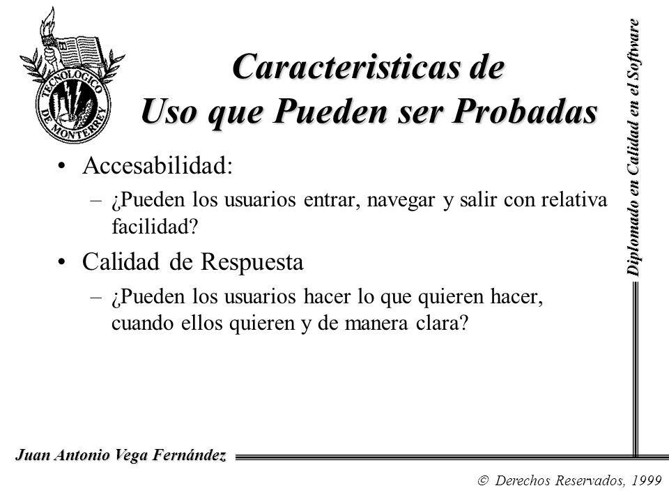 Diplomado en Calidad en el Software Derechos Reservados, 1999 Juan Antonio Vega Fernández Caracteristicas de Uso que Pueden ser Probadas Accesabilidad