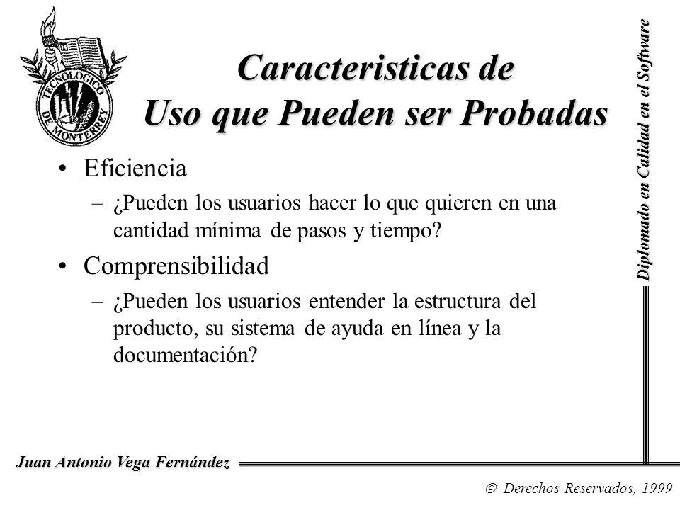Diplomado en Calidad en el Software Derechos Reservados, 1999 Juan Antonio Vega Fernández Eficiencia –¿Pueden los usuarios hacer lo que quieren en una