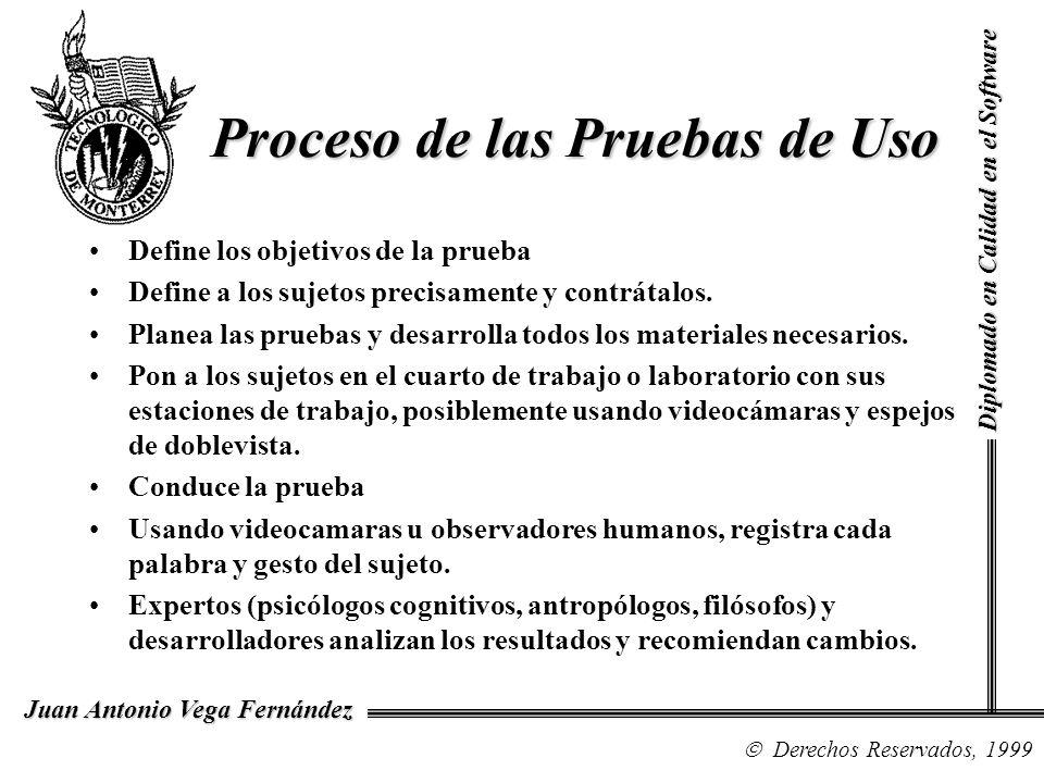 Diplomado en Calidad en el Software Derechos Reservados, 1999 Juan Antonio Vega Fernández Define los objetivos de la prueba Define a los sujetos preci