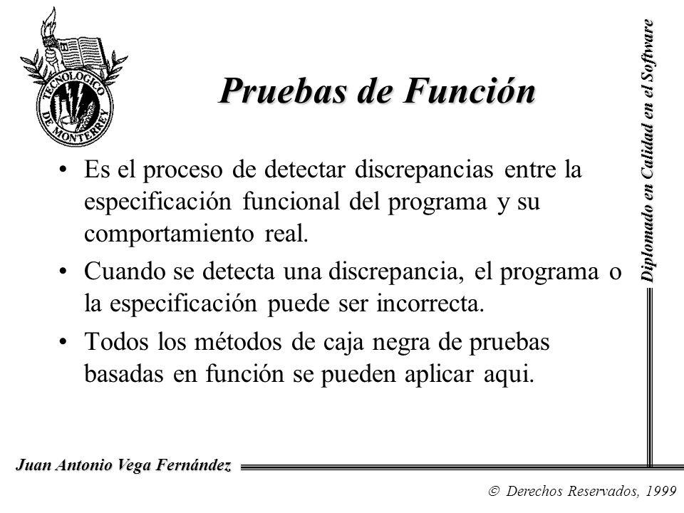 Diplomado en Calidad en el Software Derechos Reservados, 1999 Juan Antonio Vega Fernández Es el proceso de detectar discrepancias entre la especificac