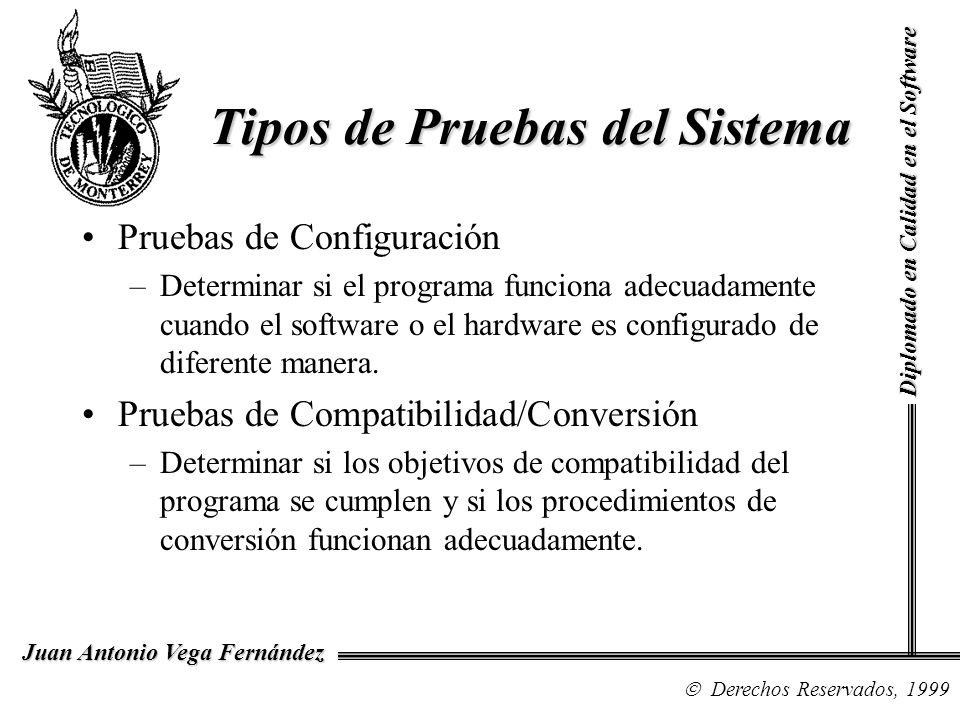Diplomado en Calidad en el Software Derechos Reservados, 1999 Juan Antonio Vega Fernández Pruebas de Configuración –Determinar si el programa funciona