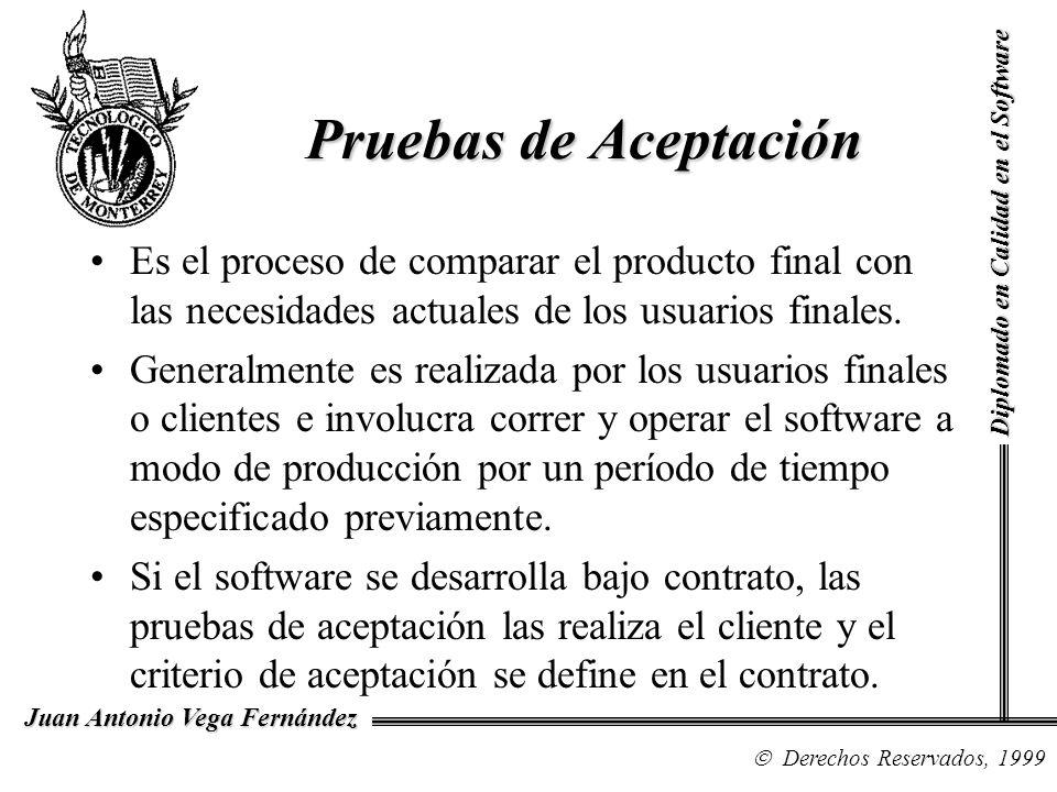 Diplomado en Calidad en el Software Derechos Reservados, 1999 Juan Antonio Vega Fernández Es el proceso de comparar el producto final con las necesida