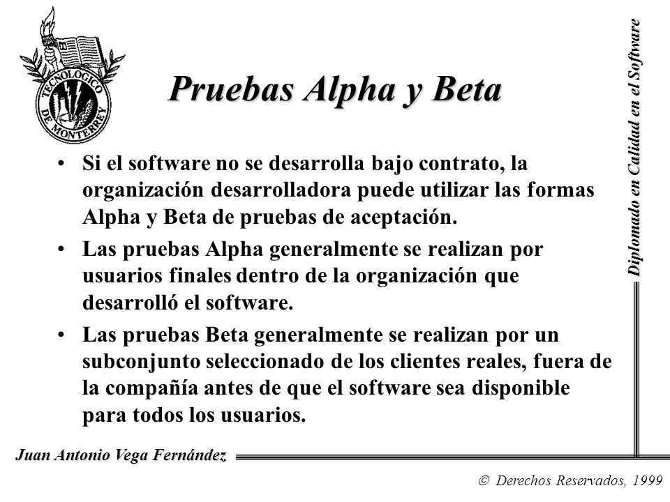 Diplomado en Calidad en el Software Derechos Reservados, 1999 Juan Antonio Vega Fernández Si el software no se desarrolla bajo contrato, la organizaci