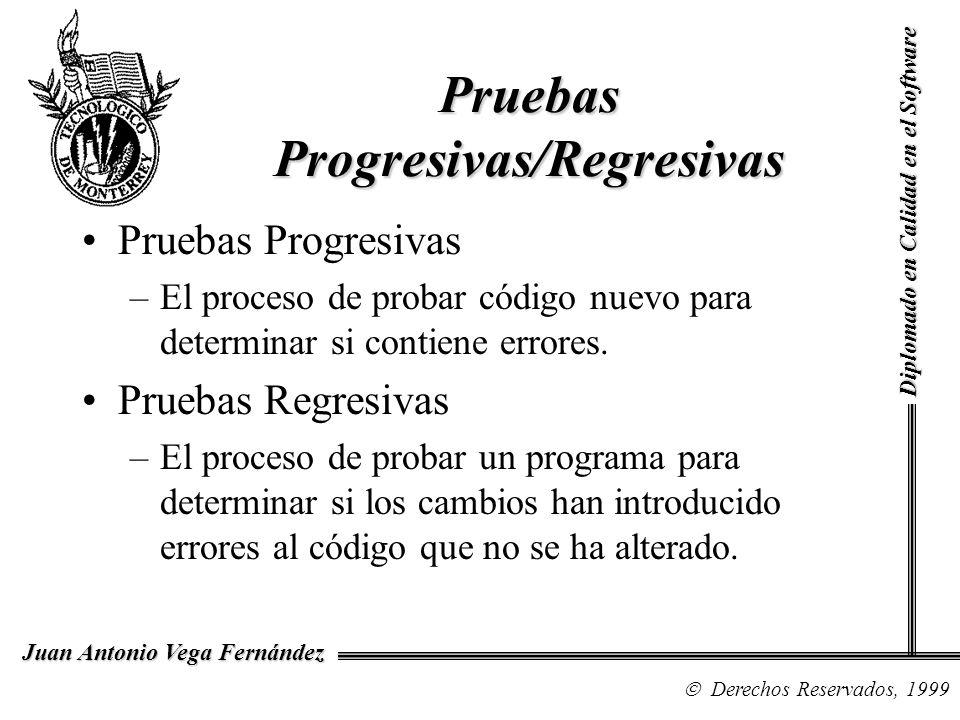 Diplomado en Calidad en el Software Derechos Reservados, 1999 Juan Antonio Vega Fernández Pruebas Progresivas –El proceso de probar código nuevo para