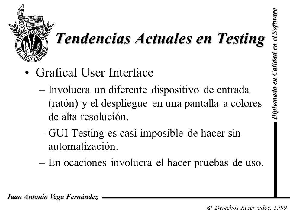 Diplomado en Calidad en el Software Derechos Reservados, 1999 Juan Antonio Vega Fernández Grafical User Interface –Involucra un diferente dispositivo