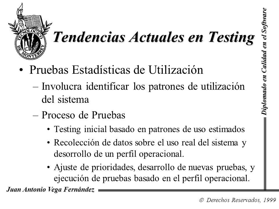 Diplomado en Calidad en el Software Derechos Reservados, 1999 Juan Antonio Vega Fernández Pruebas Estadísticas de Utilización –Involucra identificar l