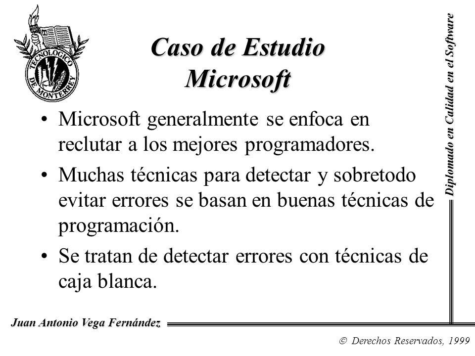 Diplomado en Calidad en el Software Derechos Reservados, 1999 Juan Antonio Vega Fernández Caso de Estudio Microsoft Microsoft generalmente se enfoca e