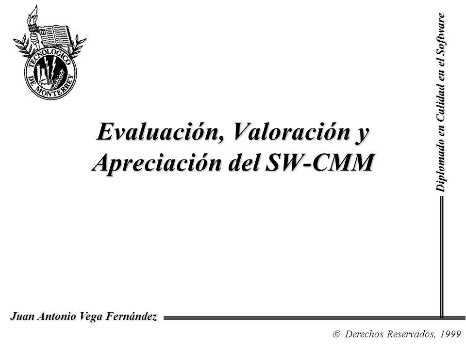 Diplomado en Calidad en el Software Derechos Reservados, 1999 Juan Antonio Vega Fernández El Proceso de Evaluación CMM Appraisal Framework (CAF) –SCE –CBA IPI –Maturity Questionnaire