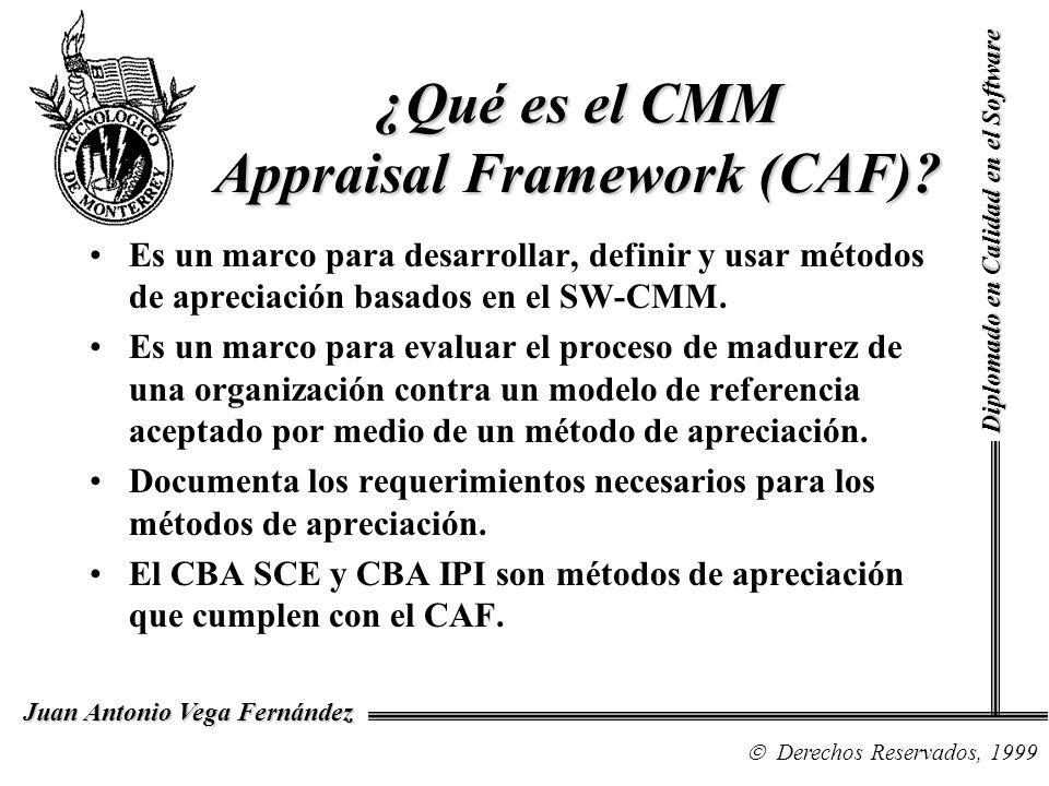 Diplomado en Calidad en el Software Derechos Reservados, 1999 Juan Antonio Vega Fernández ¿Qué es el CMM Appraisal Framework (CAF)? Es un marco para d