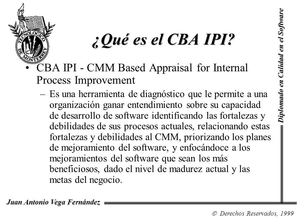 Diplomado en Calidad en el Software Derechos Reservados, 1999 Juan Antonio Vega Fernández ¿Qué es el CBA IPI? CBA IPI - CMM Based Appraisal for Intern