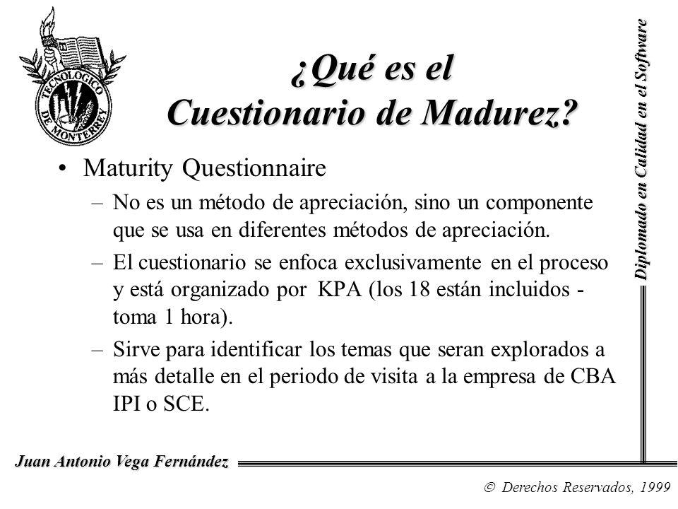 Diplomado en Calidad en el Software Derechos Reservados, 1999 Juan Antonio Vega Fernández ¿Qué es el Cuestionario de Madurez? Maturity Questionnaire –