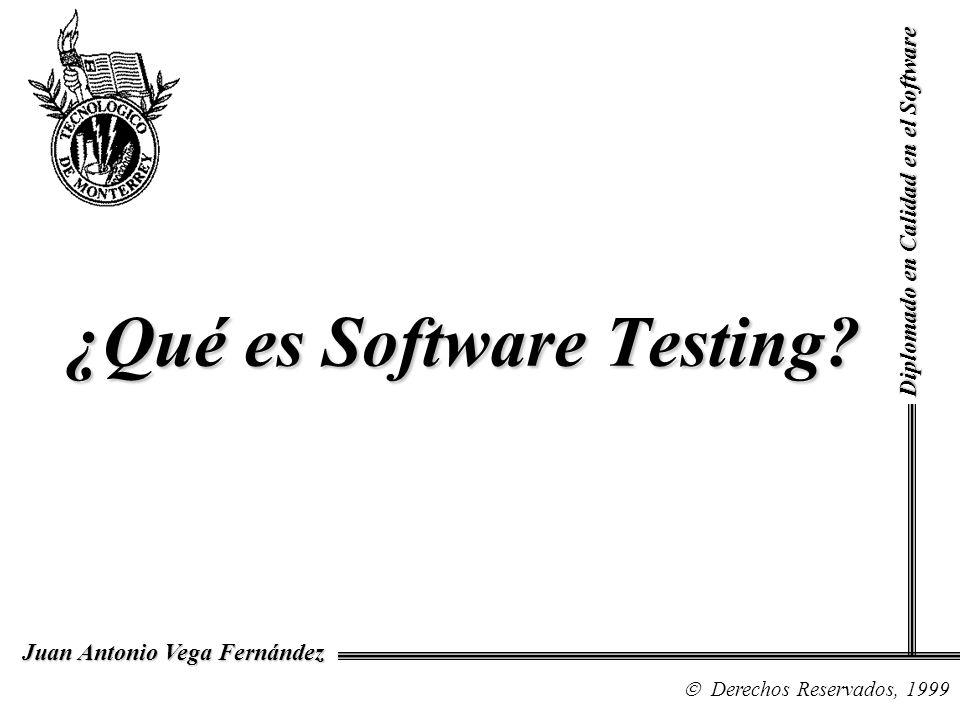 Diplomado en Calidad en el Software Derechos Reservados, 1999 Juan Antonio Vega Fernández ¿Qué es Software Testing?