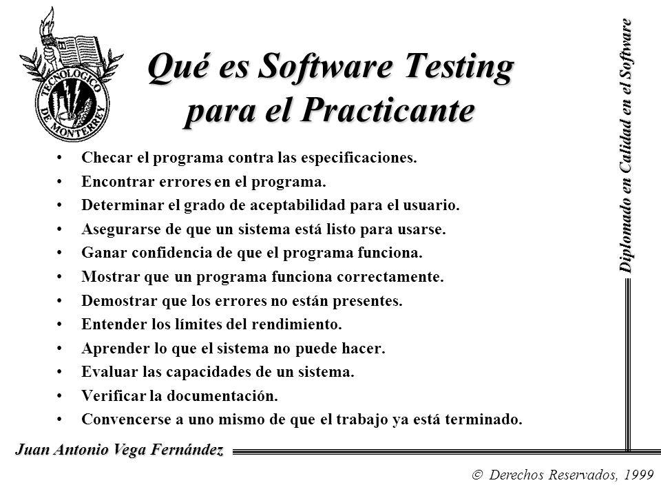 Diplomado en Calidad en el Software Derechos Reservados, 1999 Juan Antonio Vega Fernández Checar el programa contra las especificaciones. Encontrar er