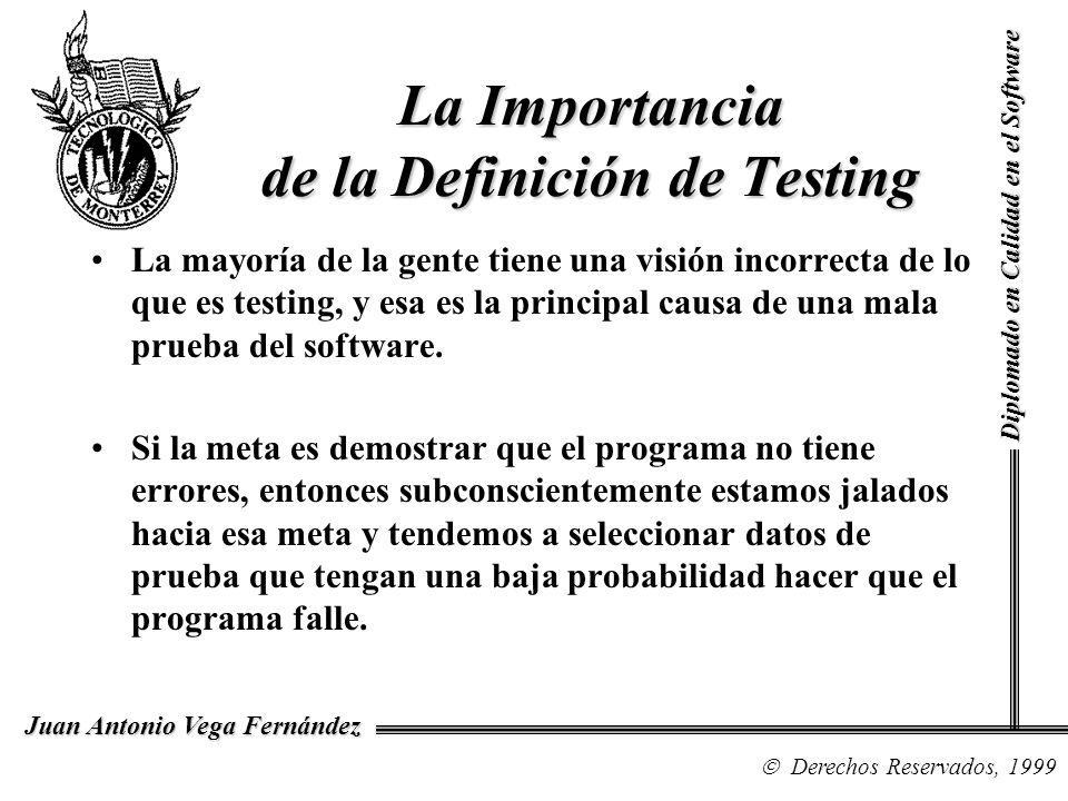Diplomado en Calidad en el Software Derechos Reservados, 1999 Juan Antonio Vega Fernández La mayoría de la gente tiene una visión incorrecta de lo que