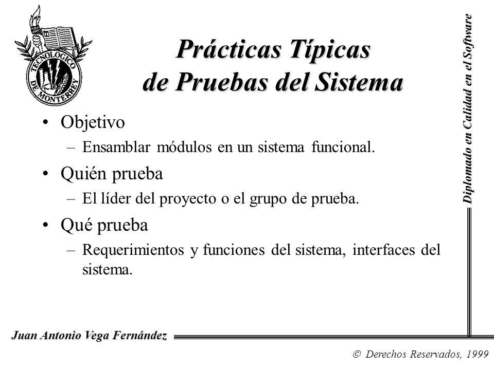 Diplomado en Calidad en el Software Derechos Reservados, 1999 Juan Antonio Vega Fernández Objetivo –Ensamblar módulos en un sistema funcional. Quién p
