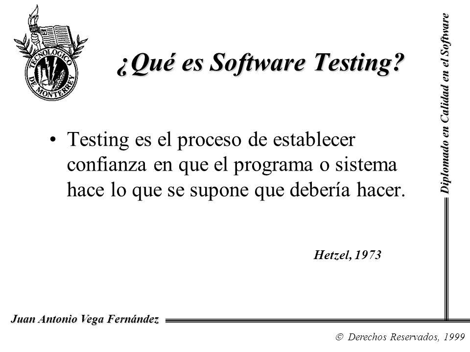 Diplomado en Calidad en el Software Derechos Reservados, 1999 Juan Antonio Vega Fernández Testing es el proceso de establecer confianza en que el prog