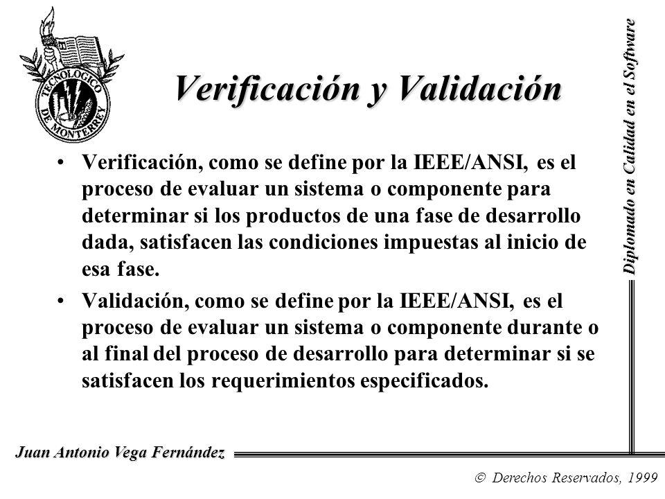 Diplomado en Calidad en el Software Derechos Reservados, 1999 Juan Antonio Vega Fernández Verificación, como se define por la IEEE/ANSI, es el proceso