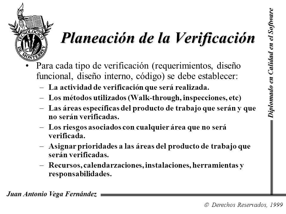 Diplomado en Calidad en el Software Derechos Reservados, 1999 Juan Antonio Vega Fernández Para cada tipo de verificación (requerimientos, diseño funci