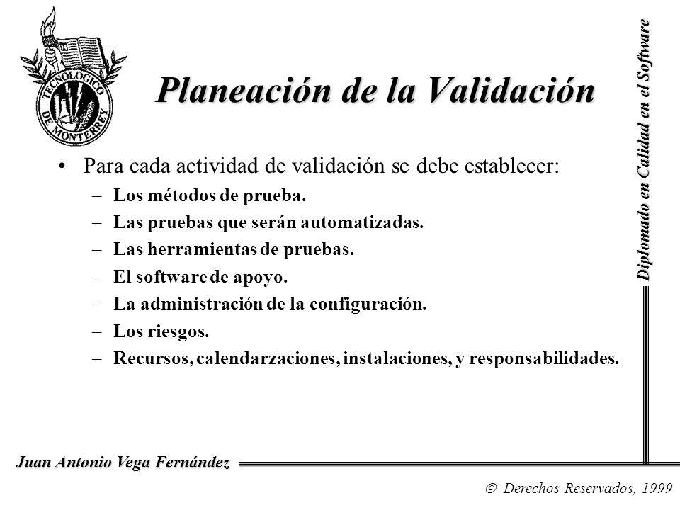 Diplomado en Calidad en el Software Derechos Reservados, 1999 Juan Antonio Vega Fernández Para cada actividad de validación se debe establecer: –Los m