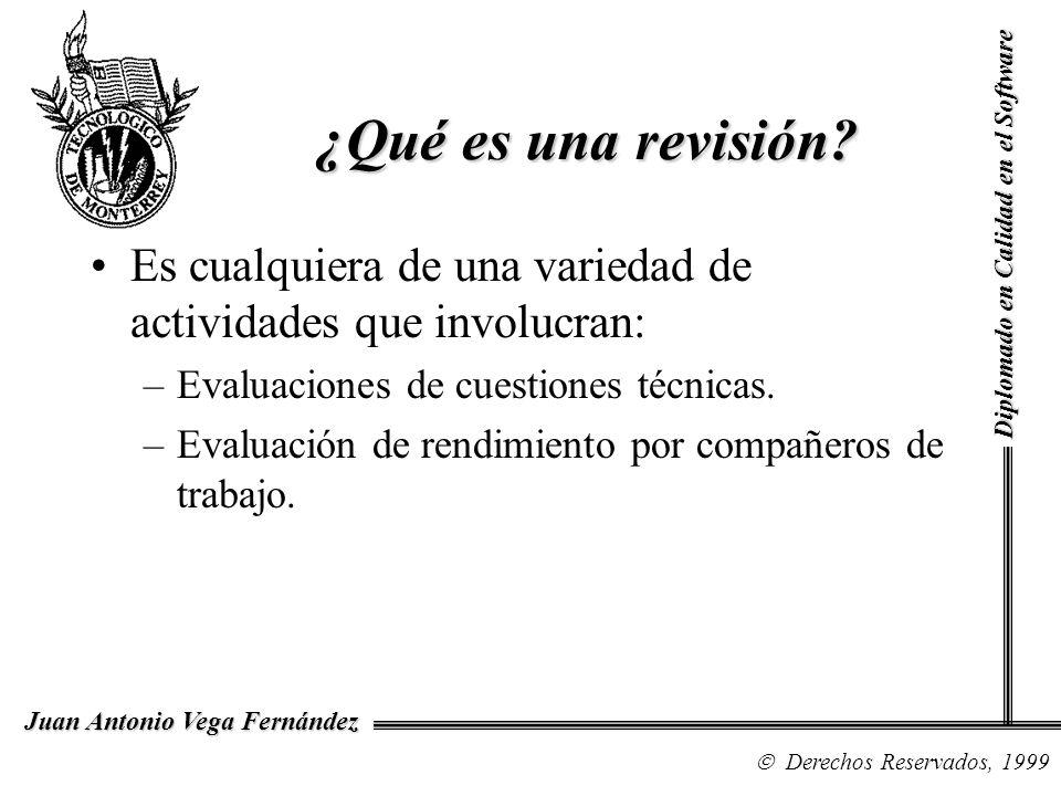 Diplomado en Calidad en el Software Derechos Reservados, 1999 Juan Antonio Vega Fernández ¿Qué es una revisión? Es cualquiera de una variedad de activ