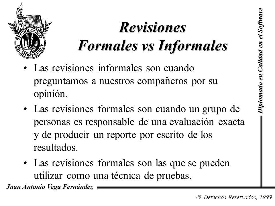 Diplomado en Calidad en el Software Derechos Reservados, 1999 Juan Antonio Vega Fernández Revisiones Formales vs Informales Las revisiones informales