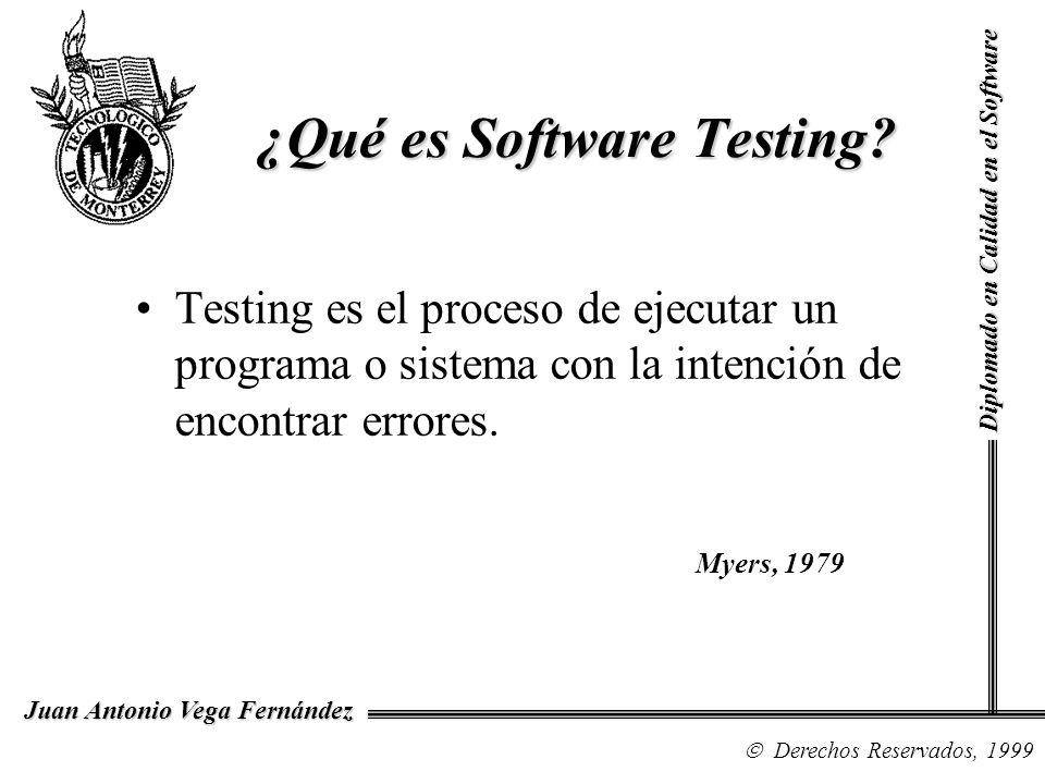 Diplomado en Calidad en el Software Derechos Reservados, 1999 Juan Antonio Vega Fernández Testing es el proceso de ejecutar un programa o sistema con