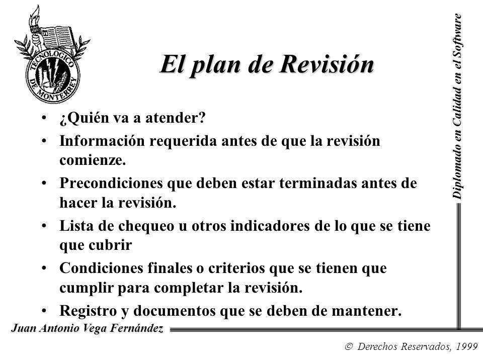 Diplomado en Calidad en el Software Derechos Reservados, 1999 Juan Antonio Vega Fernández ¿Quién va a atender? Información requerida antes de que la r