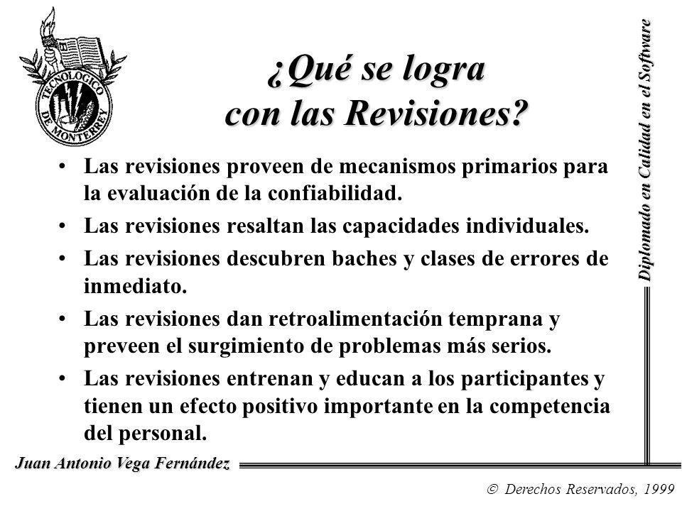 Diplomado en Calidad en el Software Derechos Reservados, 1999 Juan Antonio Vega Fernández ¿Qué se logra con las Revisiones? Las revisiones proveen de