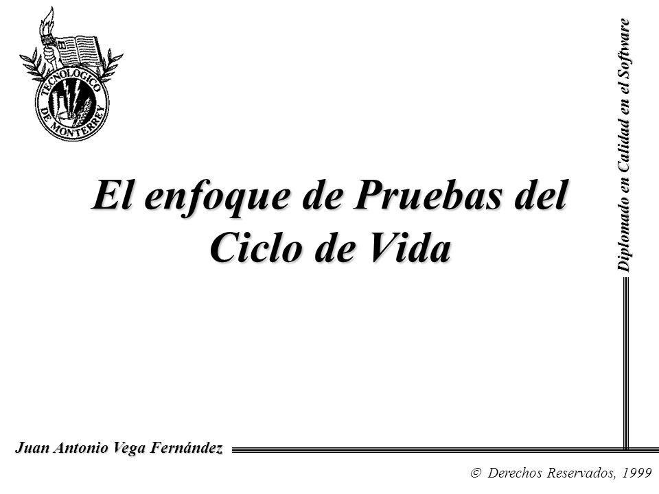 Diplomado en Calidad en el Software Derechos Reservados, 1999 Juan Antonio Vega Fernández El enfoque de Pruebas del Ciclo de Vida