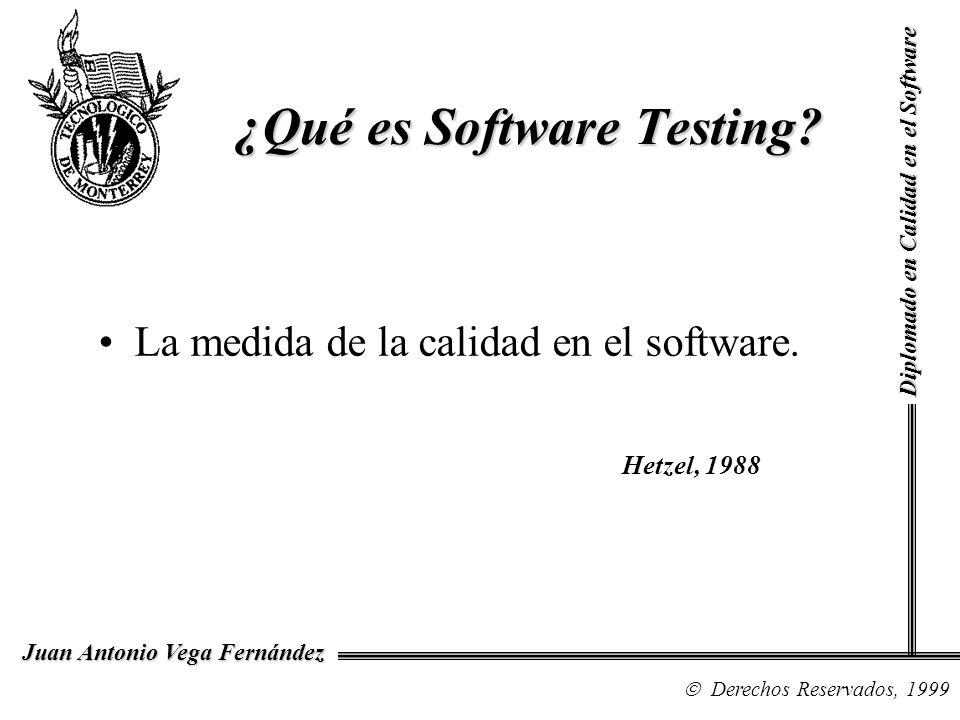 Diplomado en Calidad en el Software Derechos Reservados, 1999 Juan Antonio Vega Fernández La medida de la calidad en el software. ¿Qué es Software Tes