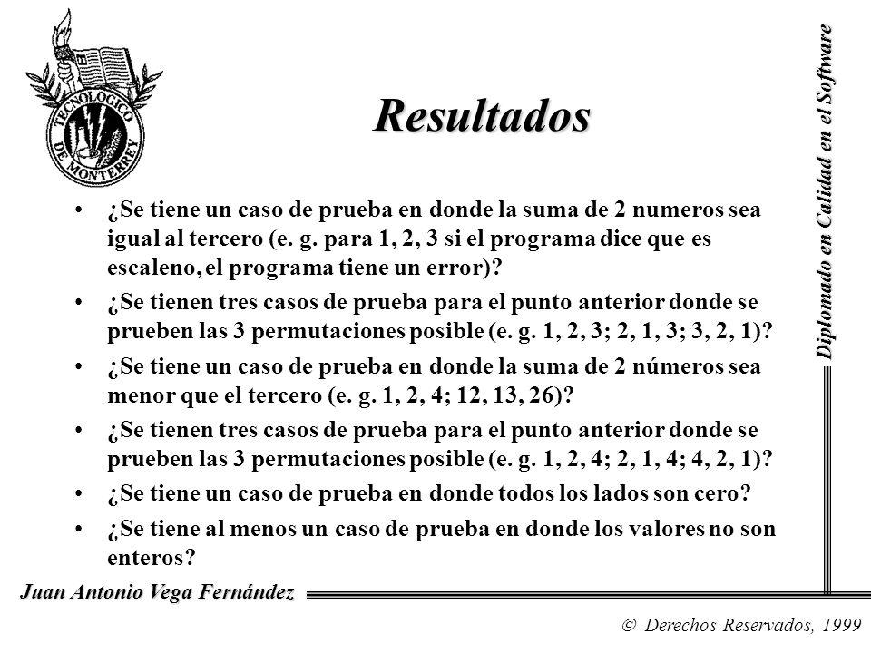 Diplomado en Calidad en el Software Derechos Reservados, 1999 Juan Antonio Vega Fernández ¿Se tiene un caso de prueba en donde la suma de 2 numeros se