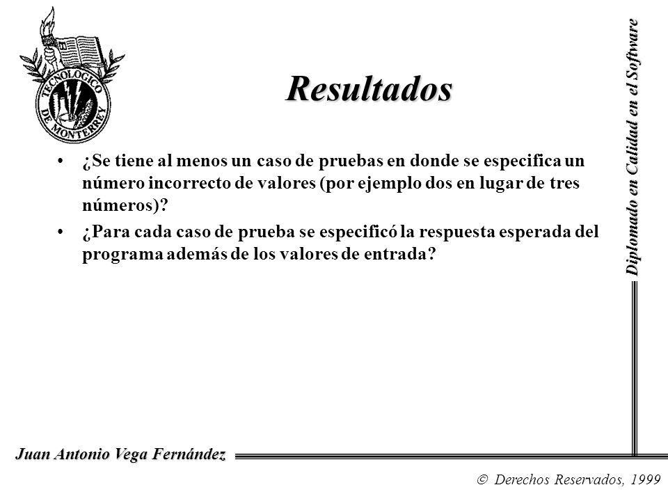 Diplomado en Calidad en el Software Derechos Reservados, 1999 Juan Antonio Vega Fernández ¿Se tiene al menos un caso de pruebas en donde se especifica
