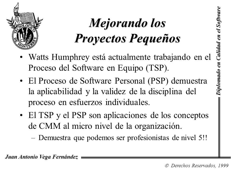 Diplomado en Calidad en el Software Derechos Reservados, 1999 Juan Antonio Vega Fernández Mejorando los Proyectos Pequeños Watts Humphrey está actualmente trabajando en el Proceso del Software en Equipo (TSP).