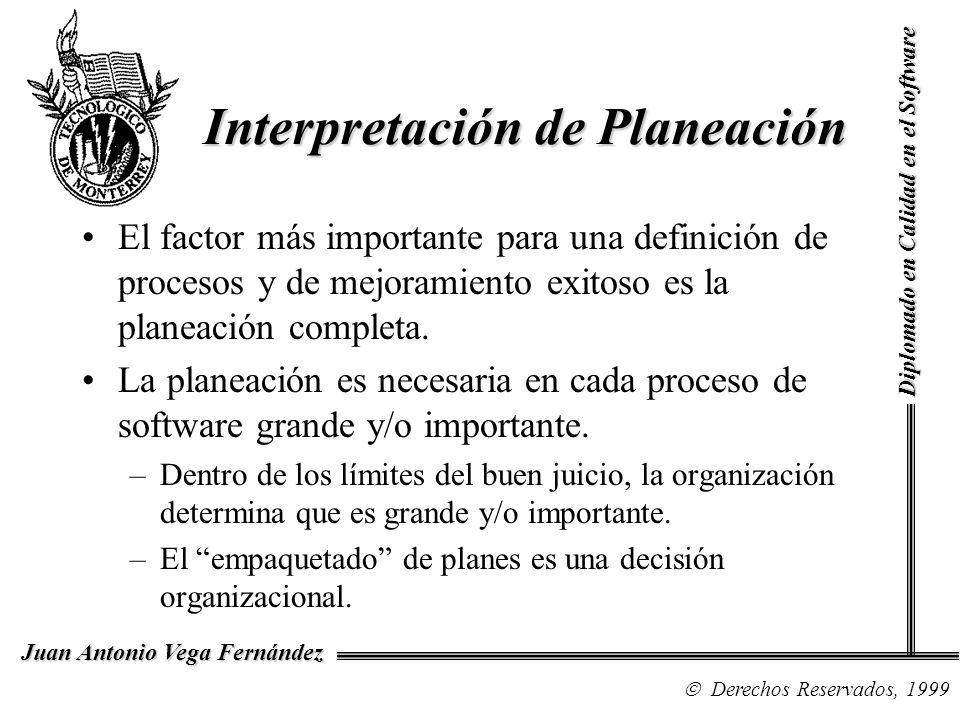 Diplomado en Calidad en el Software Derechos Reservados, 1999 Juan Antonio Vega Fernández Interpretación de Planeación El factor más importante para una definición de procesos y de mejoramiento exitoso es la planeación completa.
