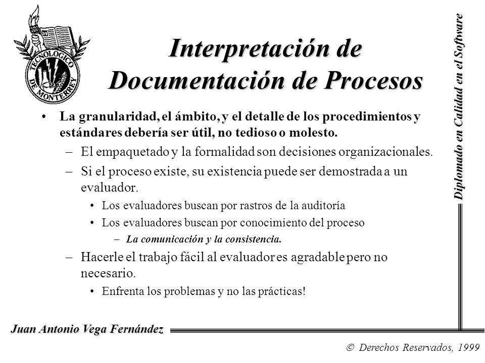 Diplomado en Calidad en el Software Derechos Reservados, 1999 Juan Antonio Vega Fernández Interpretación de Documentación de Procesos La granularidad, el ámbito, y el detalle de los procedimientos y estándares debería ser útil, no tedioso o molesto.