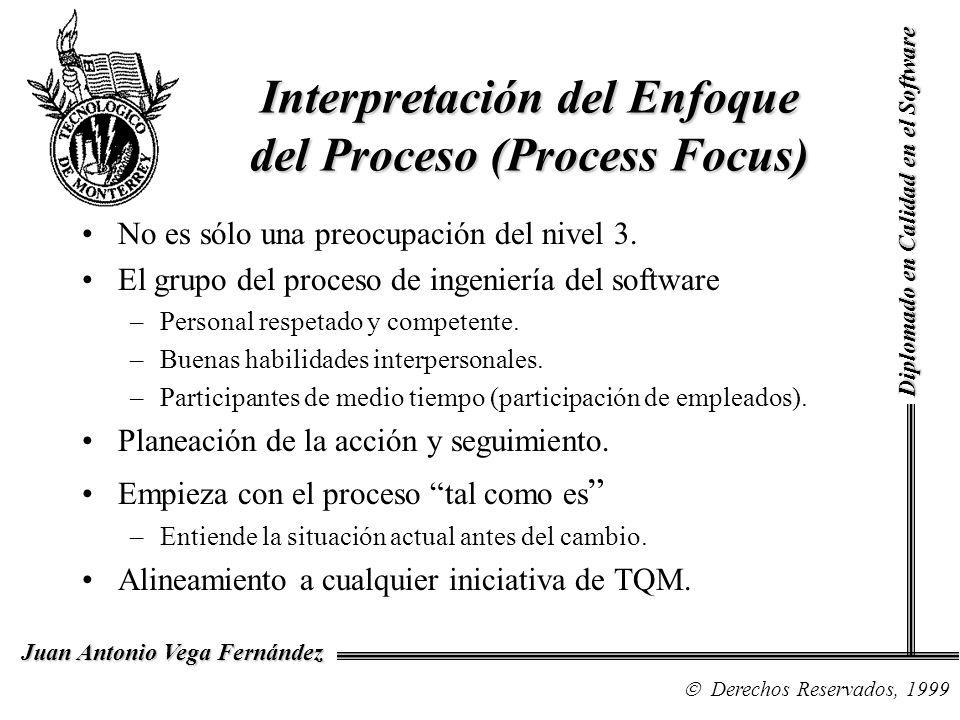 Diplomado en Calidad en el Software Derechos Reservados, 1999 Juan Antonio Vega Fernández Interpretación del Enfoque del Proceso (Process Focus) No es sólo una preocupación del nivel 3.