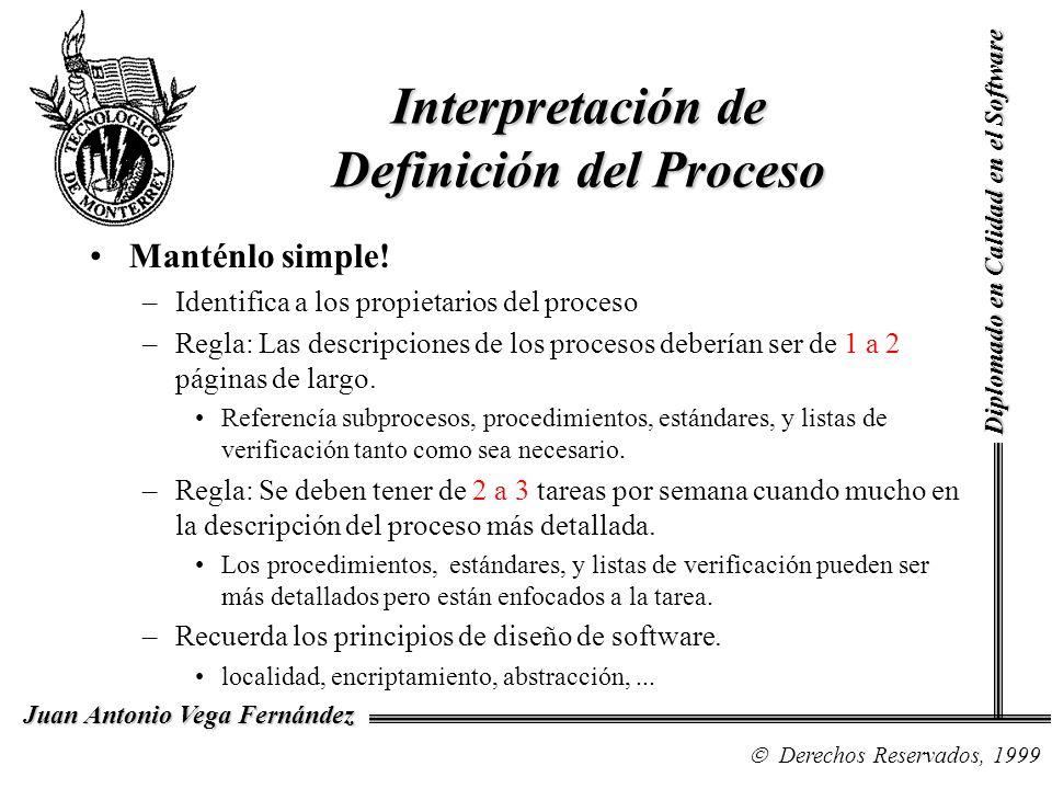 Diplomado en Calidad en el Software Derechos Reservados, 1999 Juan Antonio Vega Fernández Interpretación de Definición del Proceso Manténlo simple.