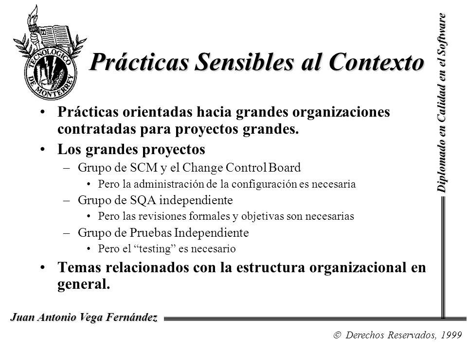 Diplomado en Calidad en el Software Derechos Reservados, 1999 Juan Antonio Vega Fernández Prácticas que … depende Uso de datos históricos en la planeación Entrenamiento –Puede ser a través de un grupo(s) externo, en lugar de desarrollarse internamente.