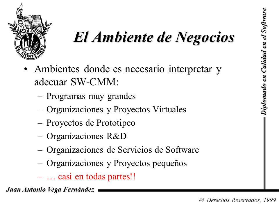 Diplomado en Calidad en el Software Derechos Reservados, 1999 Juan Antonio Vega Fernández El Ambiente de Negocios Ambientes donde es necesario interpretar y adecuar SW-CMM: –Programas muy grandes –Organizaciones y Proyectos Virtuales –Proyectos de Prototipeo –Organizaciones R&D –Organizaciones de Servicios de Software –Organizaciones y Proyectos pequeños –… casi en todas partes!!