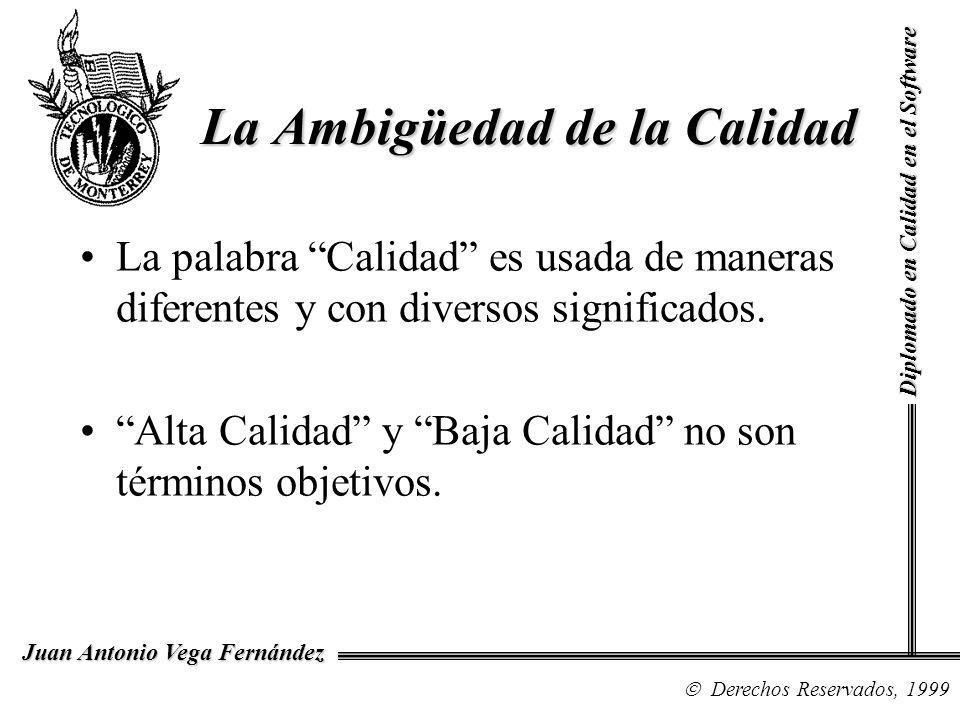 Diplomado en Calidad en el Software Derechos Reservados, 1999 Juan Antonio Vega Fernández La palabra Calidad es usada de maneras diferentes y con dive