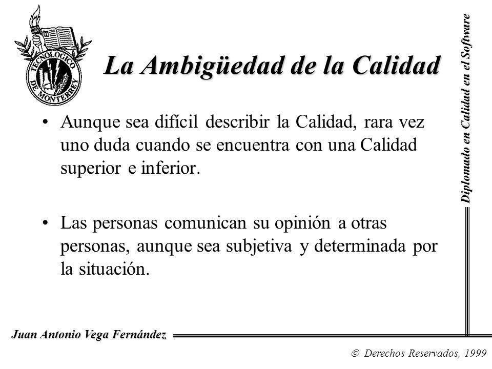 Diplomado en Calidad en el Software Derechos Reservados, 1999 Juan Antonio Vega Fernández Aunque sea difícil describir la Calidad, rara vez uno duda c