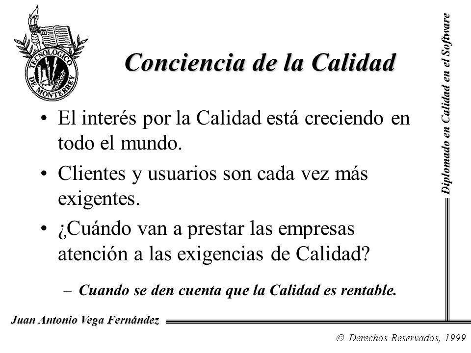 Diplomado en Calidad en el Software Derechos Reservados, 1999 Juan Antonio Vega Fernández El interés por la Calidad está creciendo en todo el mundo. C