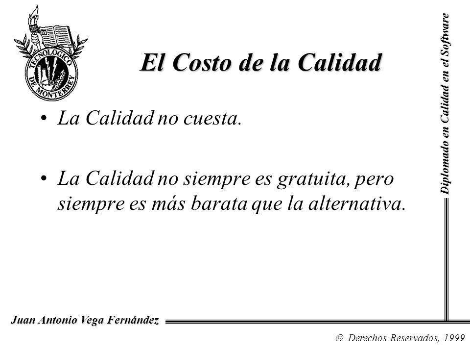 Diplomado en Calidad en el Software Derechos Reservados, 1999 Juan Antonio Vega Fernández La Calidad no cuesta. La Calidad no siempre es gratuita, per