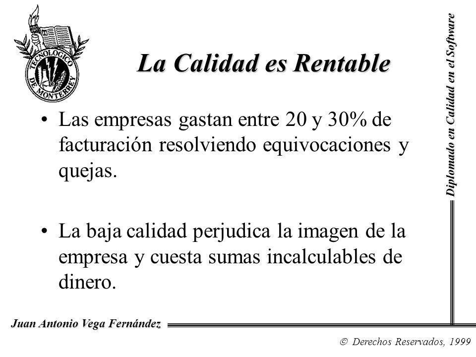 Diplomado en Calidad en el Software Derechos Reservados, 1999 Juan Antonio Vega Fernández La Calidad es Rentable Las empresas gastan entre 20 y 30% de facturación resolviendo equivocaciones y quejas.