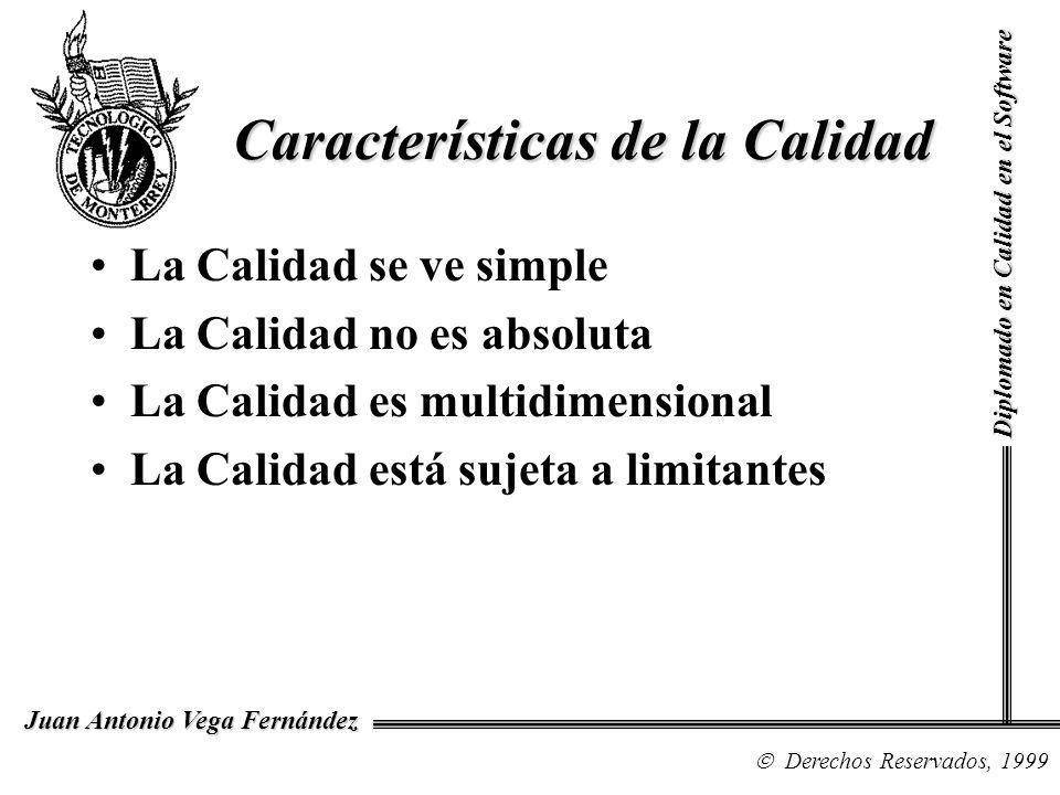 Características de la Calidad La Calidad se ve simple La Calidad no es absoluta La Calidad es multidimensional La Calidad está sujeta a limitantes Diplomado en Calidad en el Software Derechos Reservados, 1999 Juan Antonio Vega Fernández