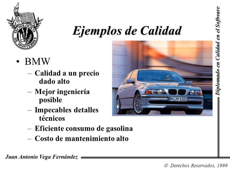 Diplomado en Calidad en el Software Derechos Reservados, 1999 Juan Antonio Vega Fernández BMW –Calidad a un precio dado alto –Mejor ingeniería posible –Impecables detalles técnicos –Eficiente consumo de gasolina –Costo de mantenimiento alto Ejemplos de Calidad