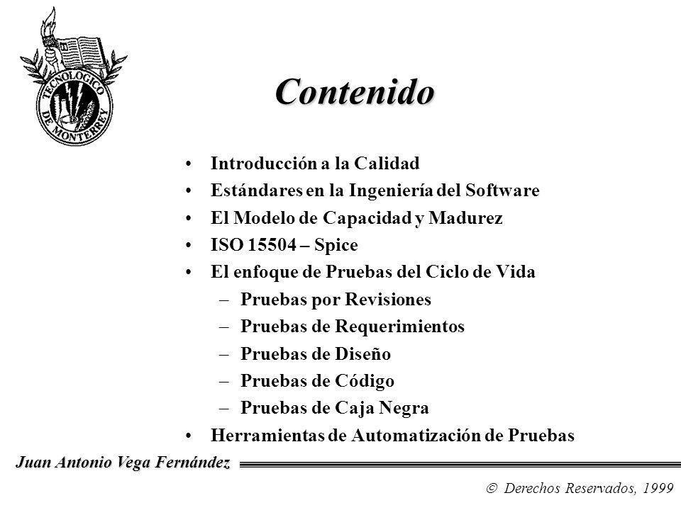 Derechos Reservados, 1999 Juan Antonio Vega Fernández Introducción a la Calidad Estándares en la Ingeniería del Software El Modelo de Capacidad y Madurez ISO 15504 – Spice El enfoque de Pruebas del Ciclo de Vida –Pruebas por Revisiones –Pruebas de Requerimientos –Pruebas de Diseño –Pruebas de Código –Pruebas de Caja Negra Herramientas de Automatización de Pruebas Contenido