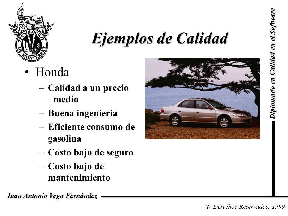 Diplomado en Calidad en el Software Derechos Reservados, 1999 Juan Antonio Vega Fernández Honda –Calidad a un precio medio –Buena ingeniería –Eficient