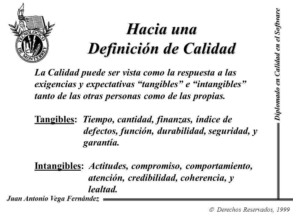 Diplomado en Calidad en el Software Derechos Reservados, 1999 Juan Antonio Vega Fernández Hacia una Definición de Calidad La Calidad puede ser vista como la respuesta a las exigencias y expectativas tangibles e intangibles tanto de las otras personas como de las propias.